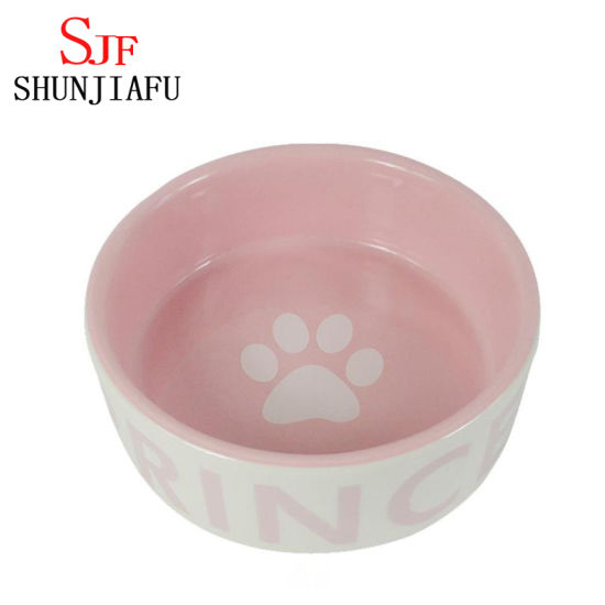 Pink Ceramic Dog Feeder Keramik Pet Bowl