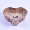 Brown Heart Shaped Bowl Gedrucktes Knochenbild Ceramic Pet Feeder Ceramic Dog Bowl